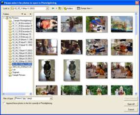 Photo  software screenshot (thumbnails)
